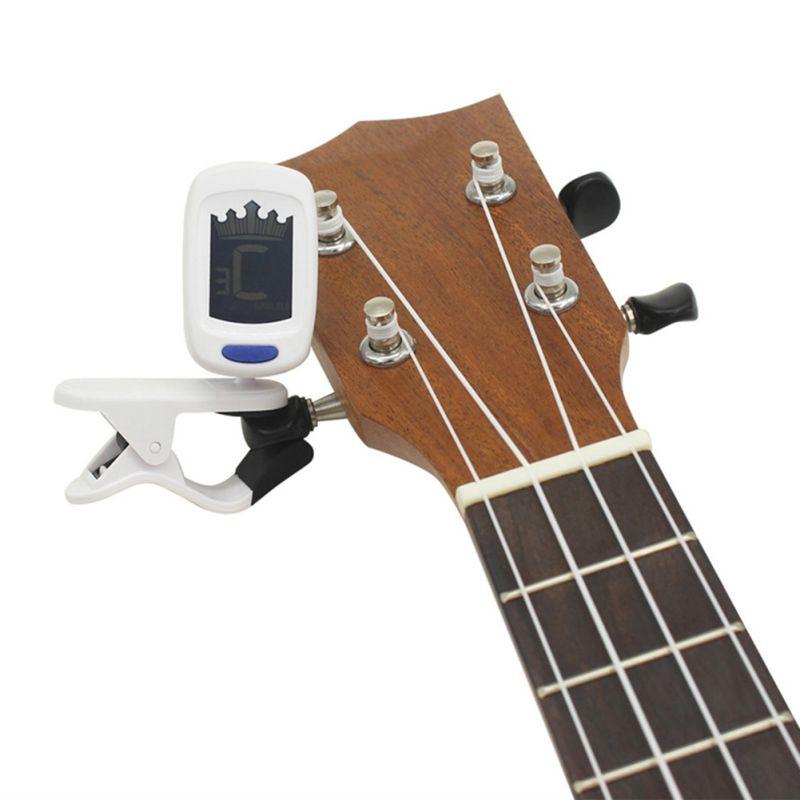 viol/ín Sintonizador el/éctrico digital con clip LCD crom/ático digital para bajo de guitarra negro ukelele