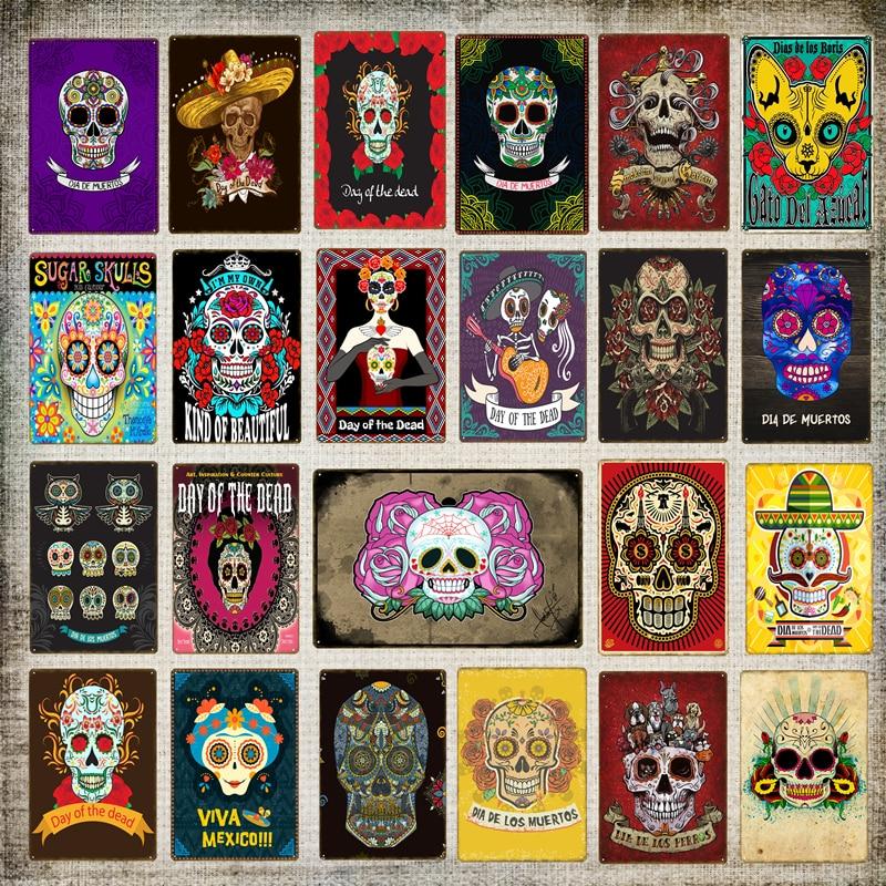 Декор для стен декор Мексиканская культура День мертвых дома металлический постер с черепом сахар железная живопись Настенная картина рет...