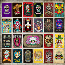Mexican Culture Day Of The Dead Home Wall Art Decor Sugar Skull Metal Poster Iron Painting Wall Picture Retro Tin Signs YN182(China)