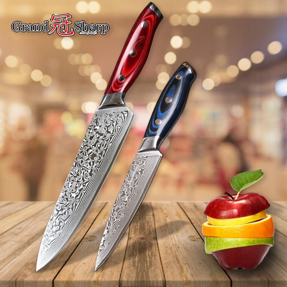 2 Pcs Knife Set Damascus Kitchen Knives Japanese Damascus Knives Chef Utility Damascus Knife Japanese Steel