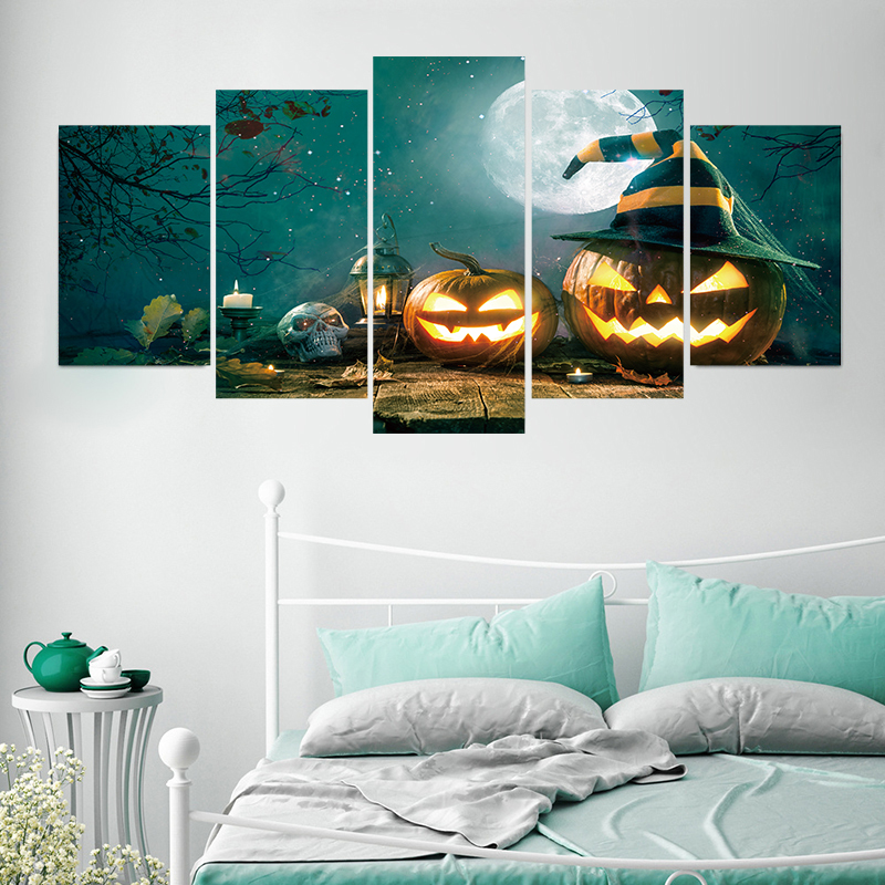 Sunny 5pcs/set All Saints Day Horror Pumpkin Lamp Wall Stickers Shop Window Ghost Head Holiday Waterproof Wallpaper Party Decoration