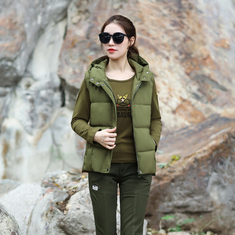 New Outdoor Military Tactical Vest Women Hooded Slim Fashion Cotton Worm Camouflage Training Climbing Hiking Casual Sports Vests