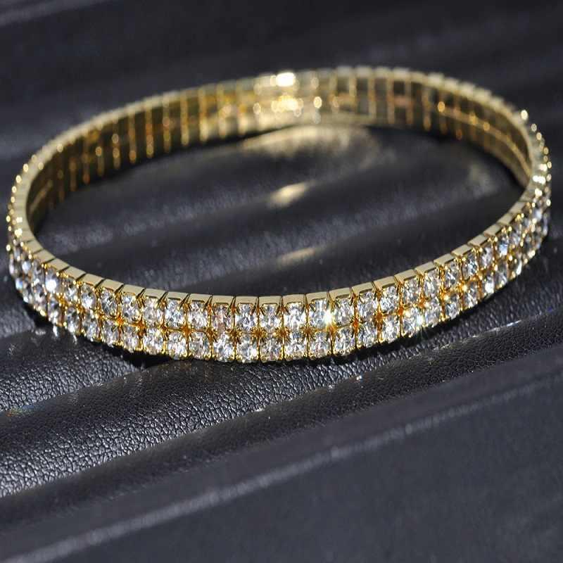 ผู้หญิงเซ็กซี่ใส Shining คริสตัล Rhinestone Gols/เงินสร้อยข้อเท้าสร้อยข้อมือเท้าเครื่องประดับงานแต่งงาน