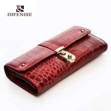 Difenise Brand Guarantee Genuine Leather Ladies Wallets Purse Long Alligator Wallet Women Elegant Female Women's Leather Wallets