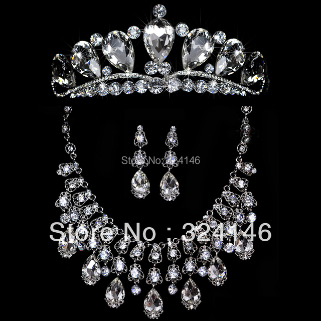2016 Top Quality Luxurious Crystal Bridal jewelry sets Charming Silver plated wedding  jewelrys set For Bride hair accessories
