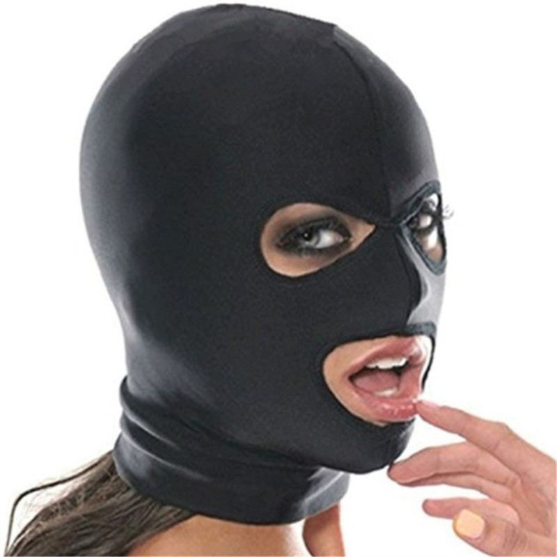 M L Fetish Mask Hood Sexy Toys Open Mouth Eye Bondage Party Mask Cosplay Slave Punish Headgear Adult Game BDSM Bondage Set