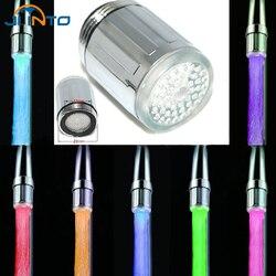 NEUE LED Wasser Wasserhahn Stream Licht 7 Farben Ändern Glühen-dusche-stream-tap Kopf Druck Sensor Bad Küche werkzeug