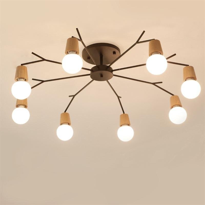 Nordic Solid Wood Modern Chandelier Natural Wood Art Style Living Room Bedroom Home Lighting Lampara Techo