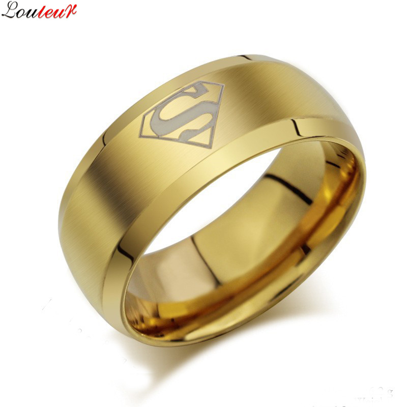 louleur 2017 fashion stainless steel superman ring 3 colors wedding band rings jewelry for men and - Wedding Ring Prices