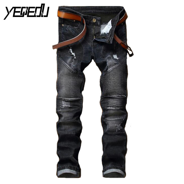 ФОТО #2793 2017 Mens skinny jeans Famous brand Mens black jeans Elastic cotton Distressed Motorcycle jeans Ripped jeans for men