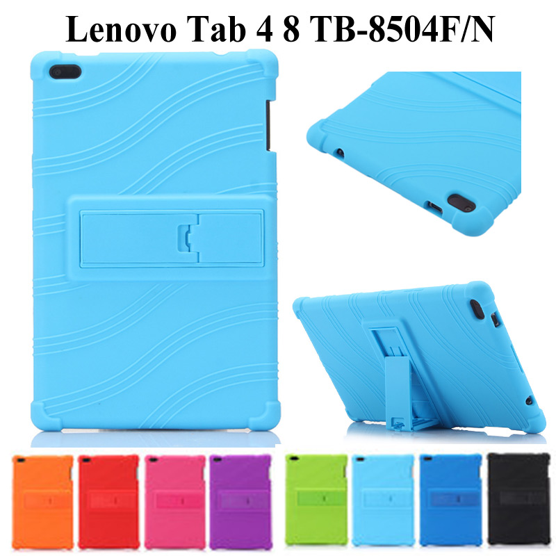 Silicon Soft PU Leather Case For Lenovo Tab 4 8 TB-8504F TB-8504N Smart Cover For 2017 Release Tab 4 8 8.0 Inch Case+film+pen