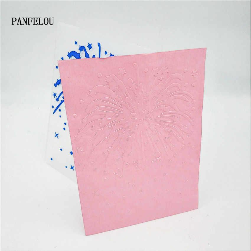 PANFELOU Pasen Blauw vuurwerk Embossing mappen Plastic Voor Scrapbooking DIY Template Fondant Cake Fotoalbum Kaart Maken
