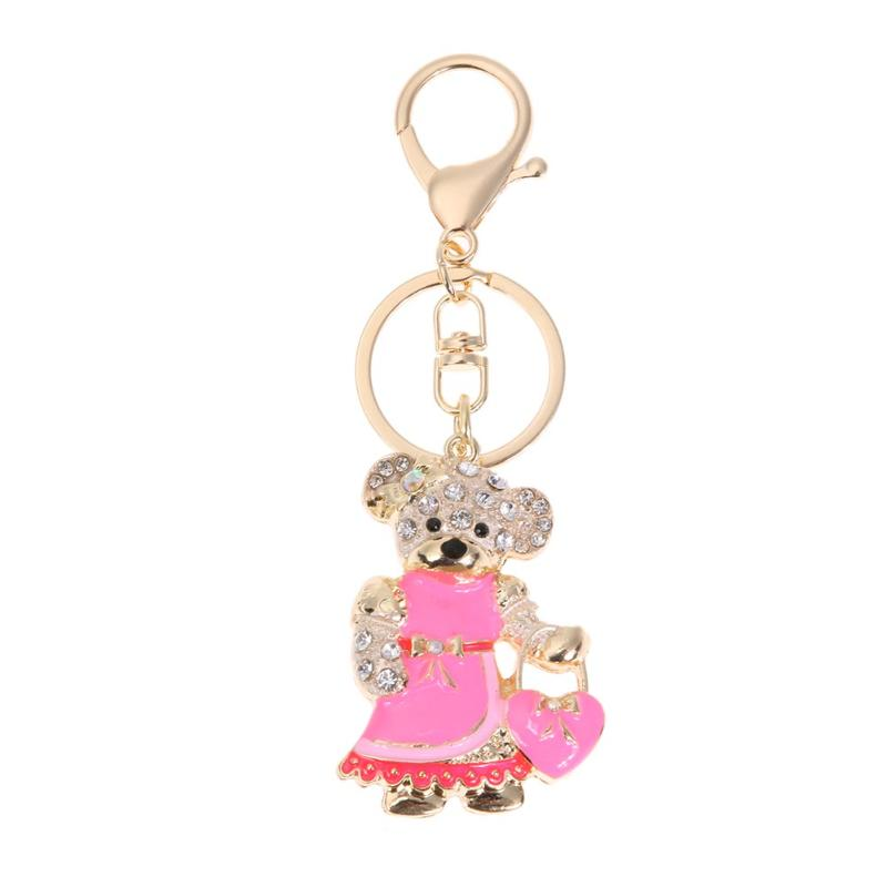Fashion Cute Rhinestone Bear/Butterfly Luxury Keychain Key Ring Holder Gift Wome Handbag Pendant Key Ring Car Key Holder