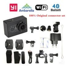 Versión internacional!! original xiaomi yi bluetooth4.0 wifi acción del deporte de la cámara 16mp 60fps de ambarella impermeable conector set