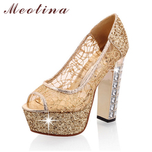 Designer Shoes Women Pumps Lace Peep Toe Platform Thick High Heels Female Glitter Crystal Gold Shoes Large Size 40 43