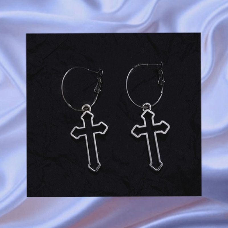 Hollow Cross Dangle Earrings Harajuku Metal Geometric Drop Earrings Jewelry