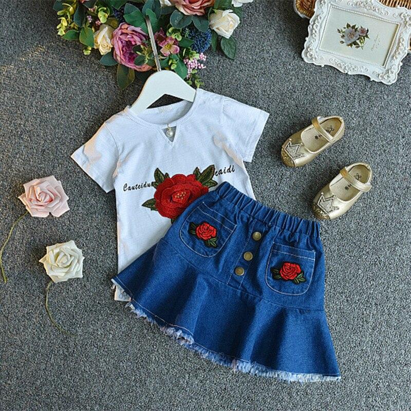 2018 casualowe zestawy ubrań dla dzieci kwiatek z krótkim rękawem - Ubrania dziecięce - Zdjęcie 2