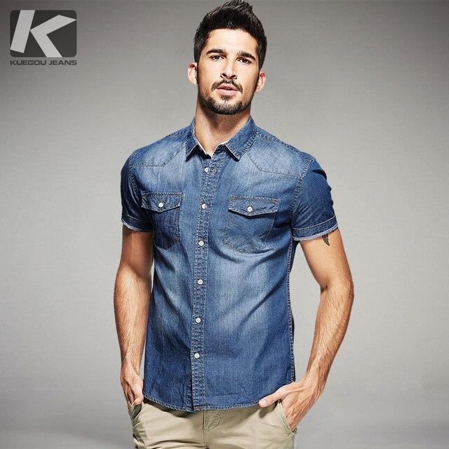 Nuevo verano Moda hombre Denim Camisas casual manga corta