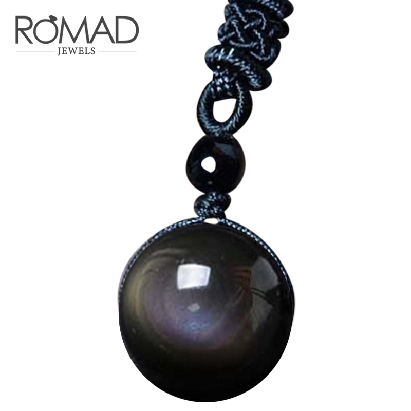 ROMAD Necklaces & Pendants Natural Stone For Women and Men Black Obsidian Rainbow Eye Beads Ball Transfer Lucky Love kolye