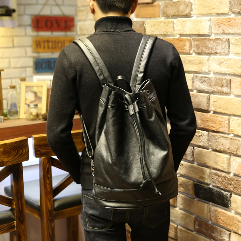 New design black large capacity men drawstring backpack casual pu leather  bucket bag unisex fashionable concise knapsack|backpack designer|backpack  fashiondesigner backpack - AliExpress