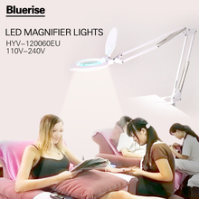 Bluerise LED Light Lamp White EU Plug Desktop Folding Magnifying Glass Nail Beauty Tatoo Dental Hospital Flexible Table Lamp