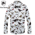 Fire Kirin Shirt Men 2017 Brand Casual Shirts For Men Pigeon Owl Pattern Mens Floral Shirt 5XL Plus Size Camisetas Hombre T213