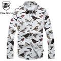 Kirin fogo Homens Da Camisa 2017 Da Marca Camisas Casuais Para Homens Pombo owl pattern mens camisa floral 5xl plus size camisetas hombre t213