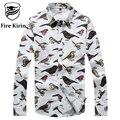 Kirin fuego Camisa de Los Hombres 2017 Marca Camisas Casuales Para Hombre Paloma owl patrón floral mens camisa 5xl plus size camisetas hombre t213