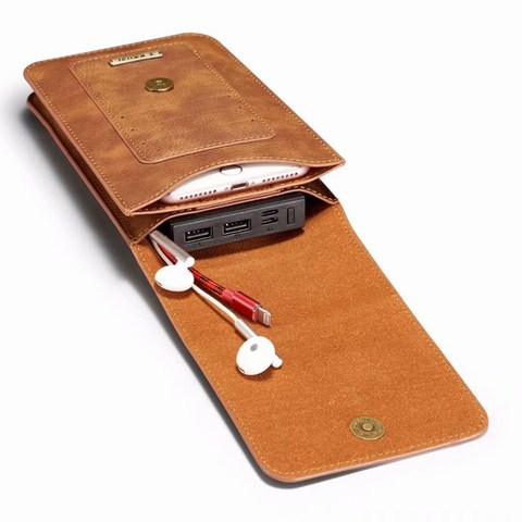 Put Two Mobile Phone Pouch Hanging waist For All Phones Coque Iphone Case Waist Pack Luxury Leather Covers Shell Accessories Bag Multan
