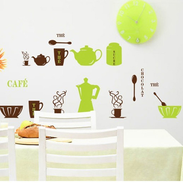 cheap sale green brown tea pot spoon bow wall stickers for kitchen removable pvc home decor - Home Decor Sale
