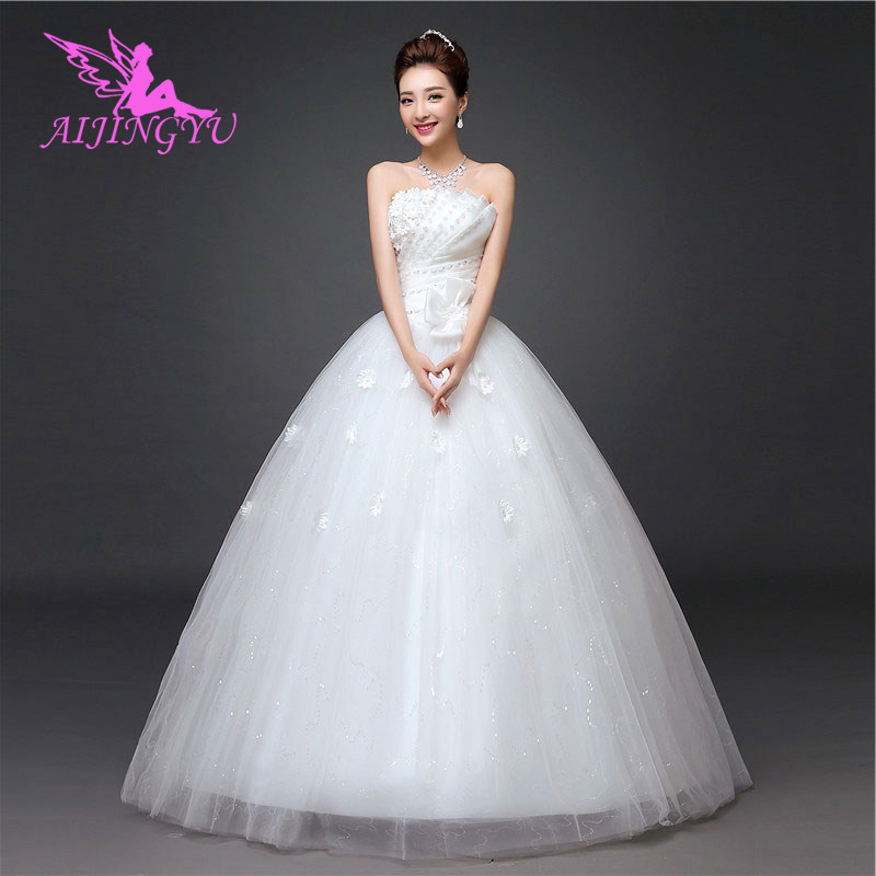 AIJINGYU 2018 real photos free shipping new hot selling cheap ball gown lace up back formal bride dresses wedding dress WK711