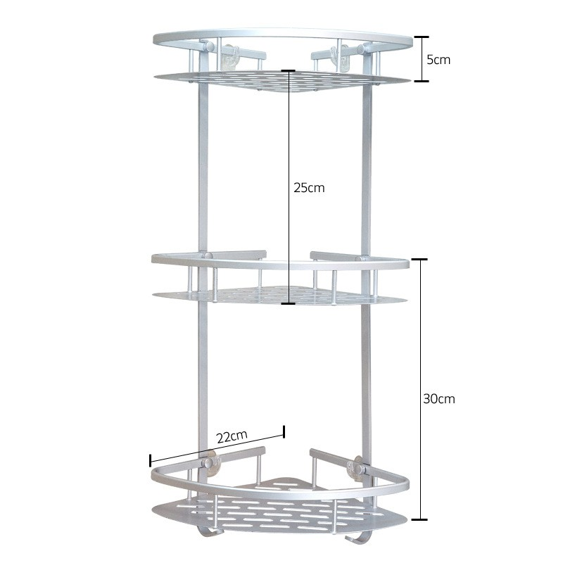 SAFEBET Brand Three Layers Suction cup style Bathroom Metal Rack ...