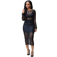 Femmes sexy treillis impression voir à travers moulante bandage dress casual mode vestidos mujer femme robe party night club dress