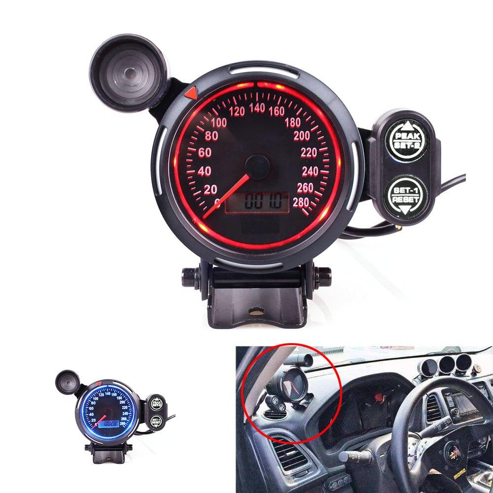 80 ミリメートルスピードメーター走行距離青と赤 KMH MPH スピードメーター付車の自動車用ゲージ  グループ上の 自動車 &バイク からの 速度計 の中 1