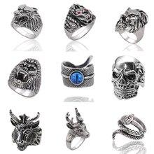 Gothic Punk Ring Men Retro Snake Tiger Wolf Rings Skeleton Devil Evil Eye Rings Pentagram Elk Goat Head Animal Male Biker Rings
