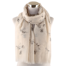 Winfox Pink Grey Bird Cage Tree Print Female Long Scarf Shawl For Womens Hijab Foulard