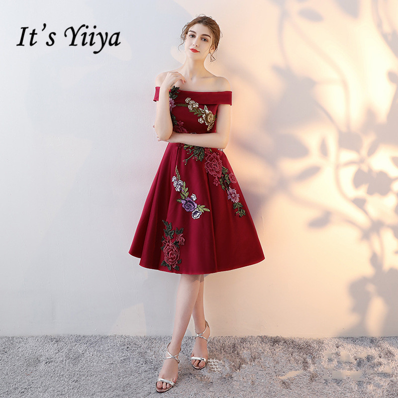 It's YiiYa 2018 Sales Boat Neck Fashion Designer Lace Floral Prints Embroidery Elegant   Cocktail   Gowns   Cocktail     Dress   LX361