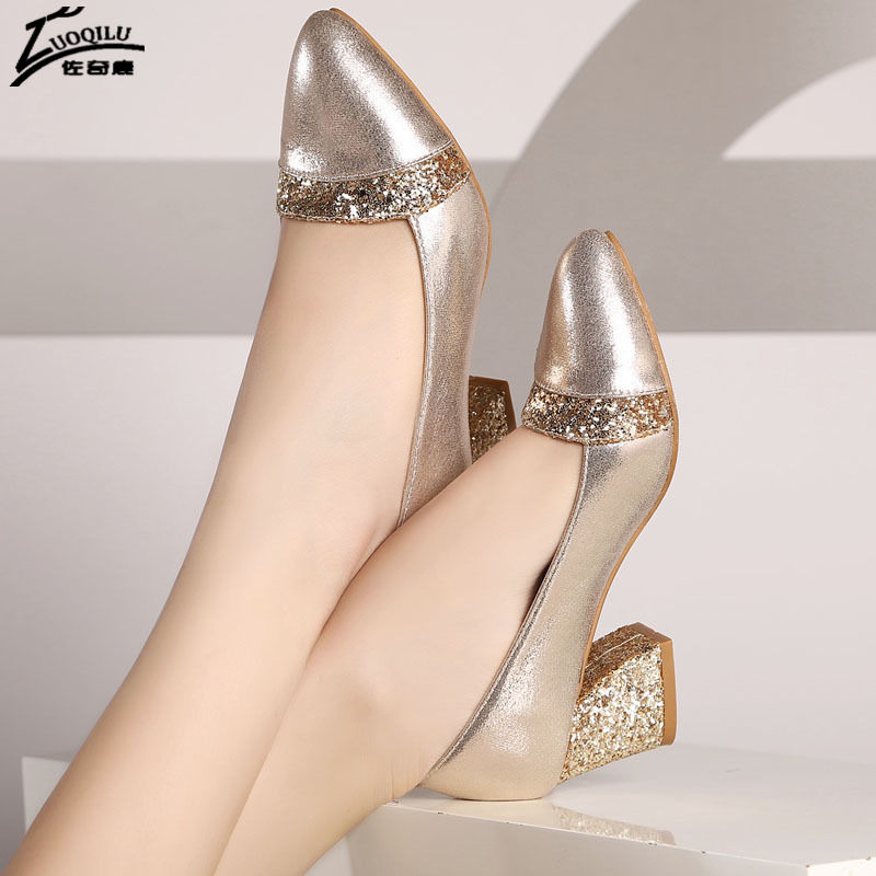 цены Sexy Women Shoes High Heel Pumps ladies wedding shoes bride Gold High Heels Shoes Woman chaussure femme talon big Size 40 41