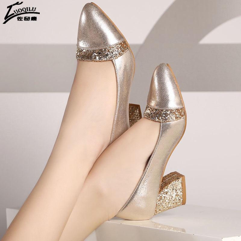 цены Sexy Women Shoes High Heel Pumps ladies wedding shoes bride Gold High Heels Shoes Woman chaussure femme talon big Size 40 41
