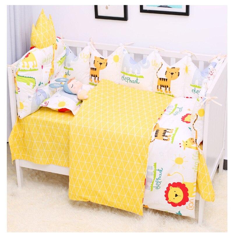 9pcs/set Newborn Baby Bed Linen Breathable Cotton Cot Set Detachable Baby Bedding Infant Crib Protector Bumper Set Multicolor