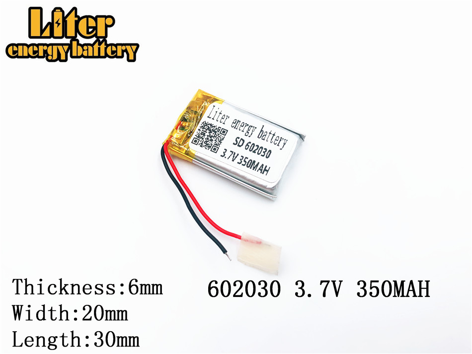 <font><b>350mAh</b></font> 602030 <font><b>3.7V</b></font> lithium polymer <font><b>battery</b></font>, Bluetooth MP3 MP4 Smart Watch wireless card audio recorder Rechargeable Li-ion Cell image