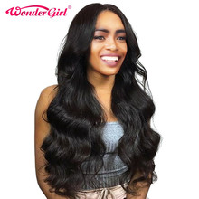 Wonder girl 180% Density Pre Plucked Lace Front Human Hair Wigs With Baby Hair Malaysian Body Wave Lace Front Wig Non Remy