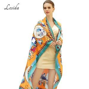 Image 2 - 2020 Vintage Square Silk Printed Bandanas for Women Luxury Brand Pashmina Scarf Shawl Twill Silk Bandana Wholesale 130*130cm