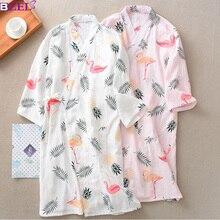 Lato jesień 100% bawełniane szaty podwójna gaza Kimono koszula nocna proste natura Flamingo cienki odcinek luźne duże rozmiary domu szlafrok
