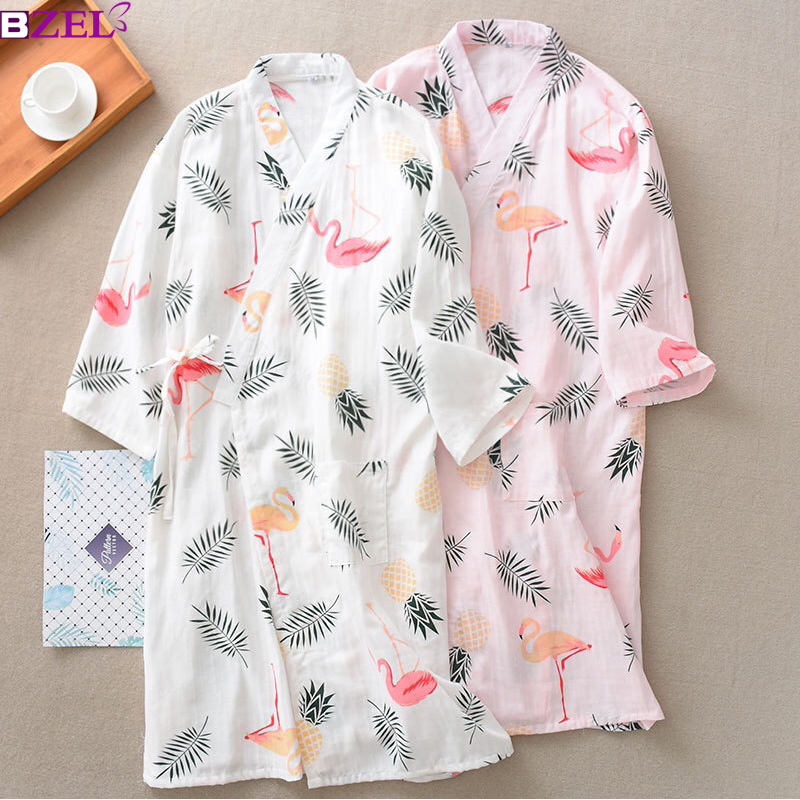 Summer Autumn 100% Cotton Robes Double Gauze Kimono Nightgown Simple Nature Flamingo Thin Section Loose Large Size Home Bathrobe