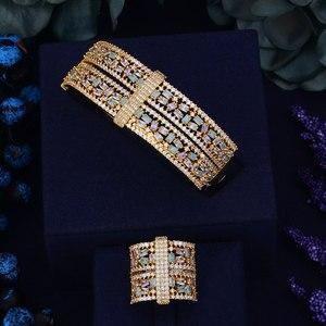Image 2 - GODKI Luxury Big Delicate Luxury Multicolor Cubic Zirconia Party Wedding Saudi Arabic Dubai Bangle Ring Set