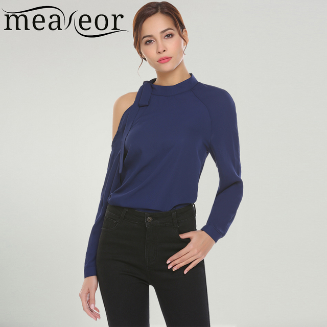 7050daf228ca11 Meaneor Women Casual Lace Up Collar Cold One Shoulder Shirt Long Sleeve  Loose Sexy Chiffon 2018 Spring New Ladies Femme Shirt