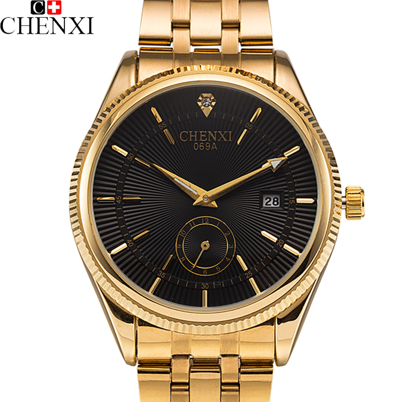 2017 CHENXI Calendar Gold Quartz Watch Men Clock Top Brand Luxury Wrist Watches Golden Hodinky Relogio Masculino quartz-watch chenxi wristwatches 2017 gold watch men top brand luxury famous quartz wrist watch goldren male clock hodinky relogio masculino