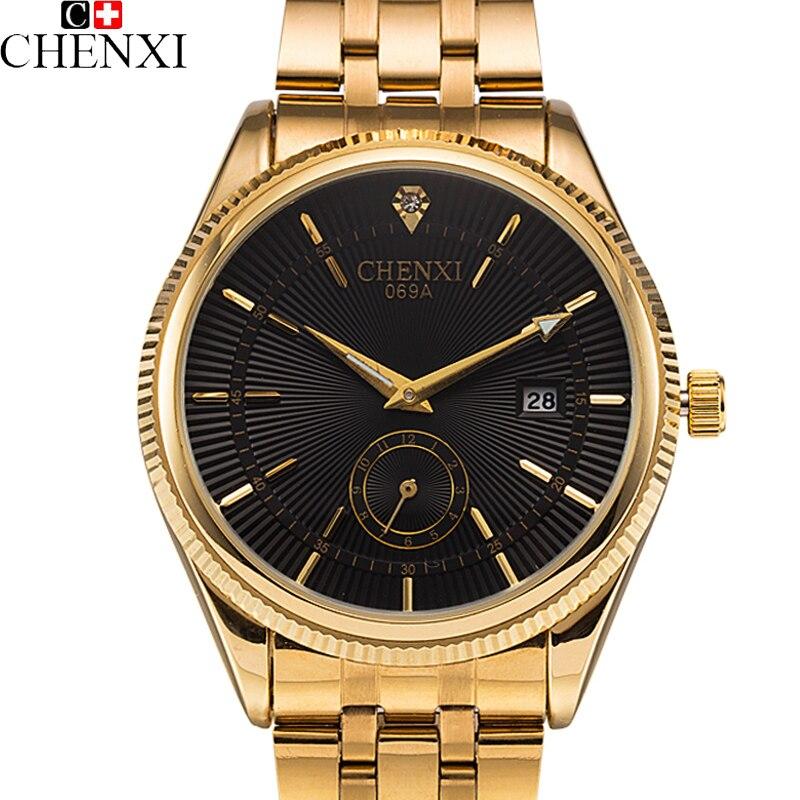 2018 CHENXI Calendrier Or Montre À Quartz Hommes Horloge Top Marque De Luxe Montres D'or Hodinky Relogio Masculino quartz-montre