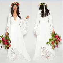 V-Neck 2018 Beach Boho Wedding Dresses Long Sleeves